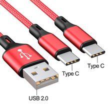 USB 2.0 סוג A זכר כפול סוג C USB C זכר ספליטר Y טעינת כבל כבל עבור סמסונג Huawei xiaomi Oneplus HTC אנדרואיד מובייל