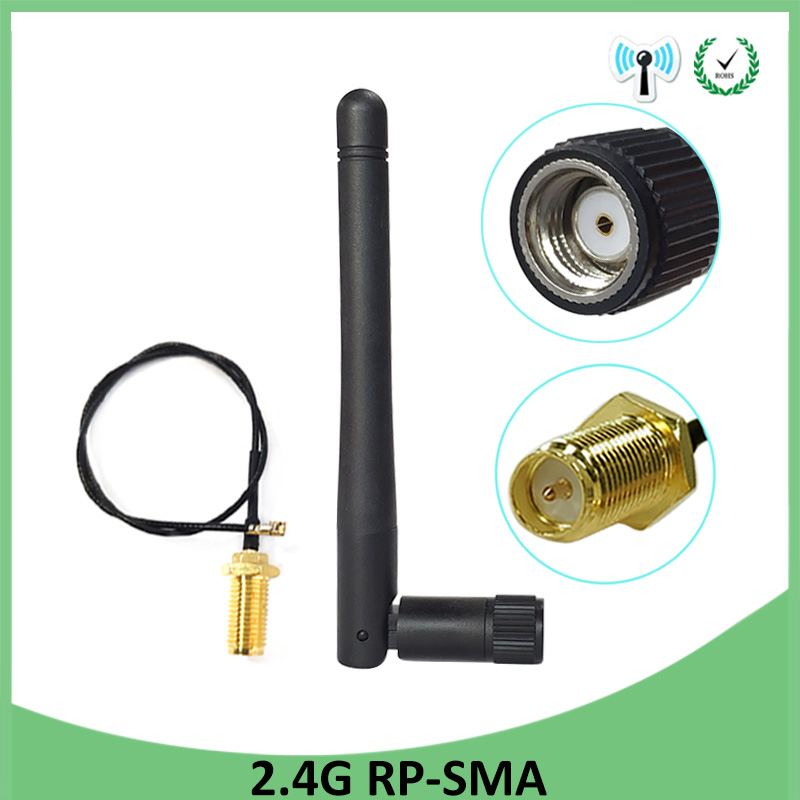 2.4GHz Antenna Wifi RP-SMA Male Connector 3dBi Wi Fi 2.4G Antena + IPX To RP-SMA Jack Male Extension Cord Pigtail Cable