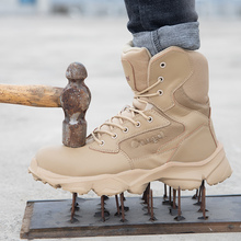 New Arrival Mens Boots Leather Top Quality Steel Toe Shoes Work Man Plus Size Men Safety Beige mens shoes