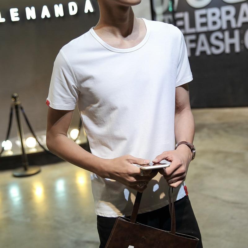 Summer Wear Versatile Short-sleeved Round Collar T-shirt Men's Fashion Solid Color Base T-shirt