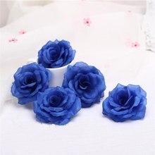 10 pçs 8cm azul real artificial rosa flores de seda cabeças flores decorativas para festa de casamento em casa banquete decoração