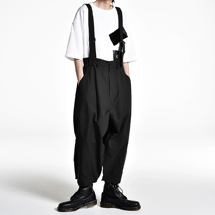 S-6XL!!2019 Men's Wide-leg Pants Culottes And Suspenders Are Loose.