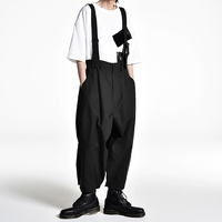 S 6XL!!2019 Men's wide leg pants culottes and suspenders are loose.