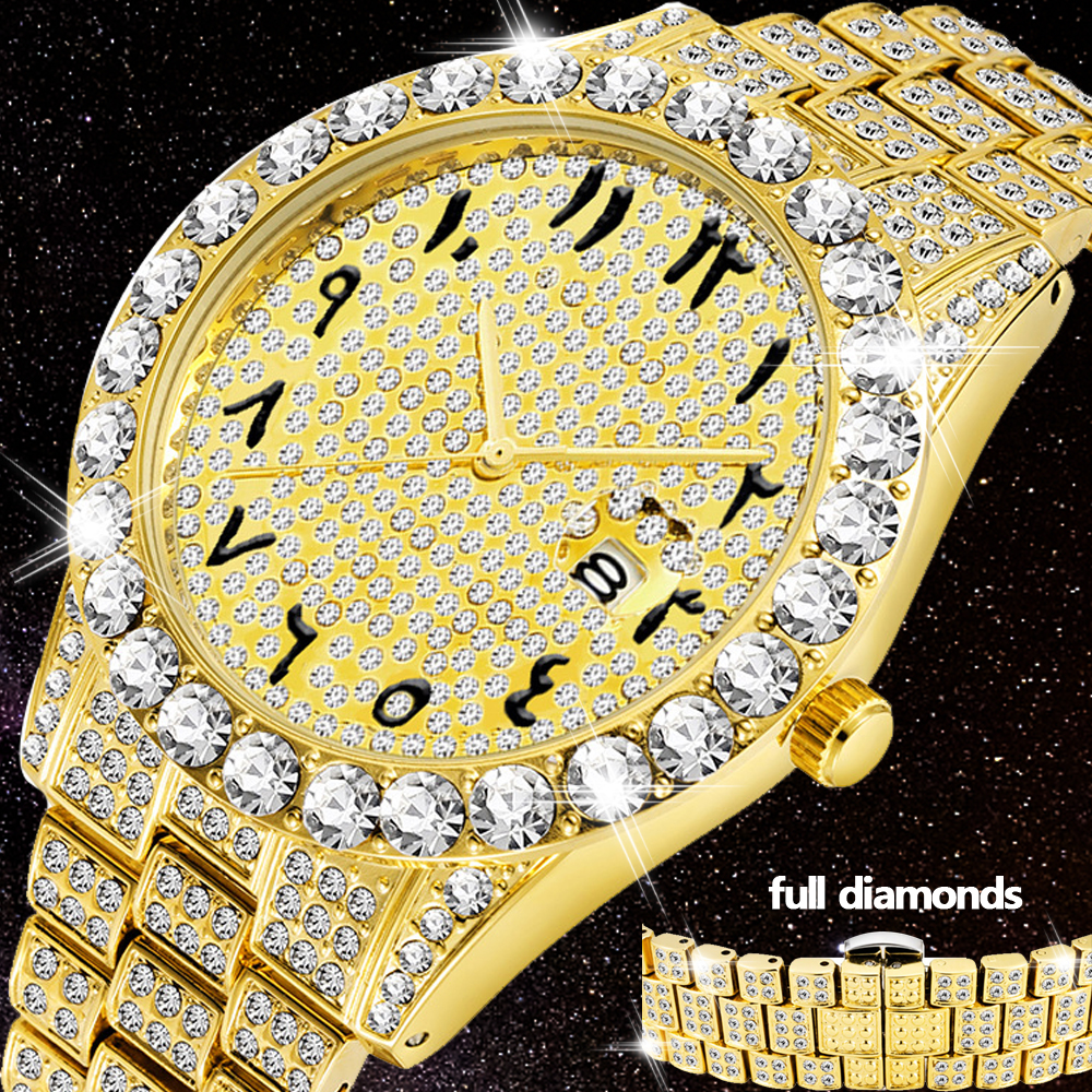 Luxury 18K Gold Watch For Men Full Diamond Wristwatch Waterproof Male Clock Hip Hop Iced Out Quartz Men's Watches Arabic Relogio