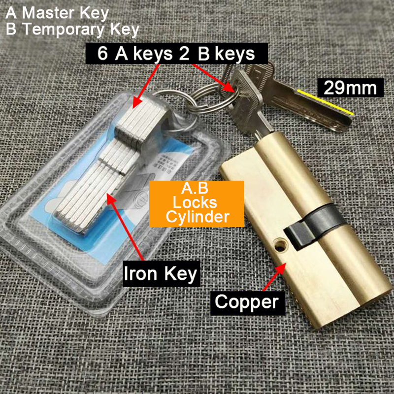 Custom copper AB lock cylinder anti theft door lock core eccentric non-standard lock cylinder 6pcs A keys 2 pcs B keys