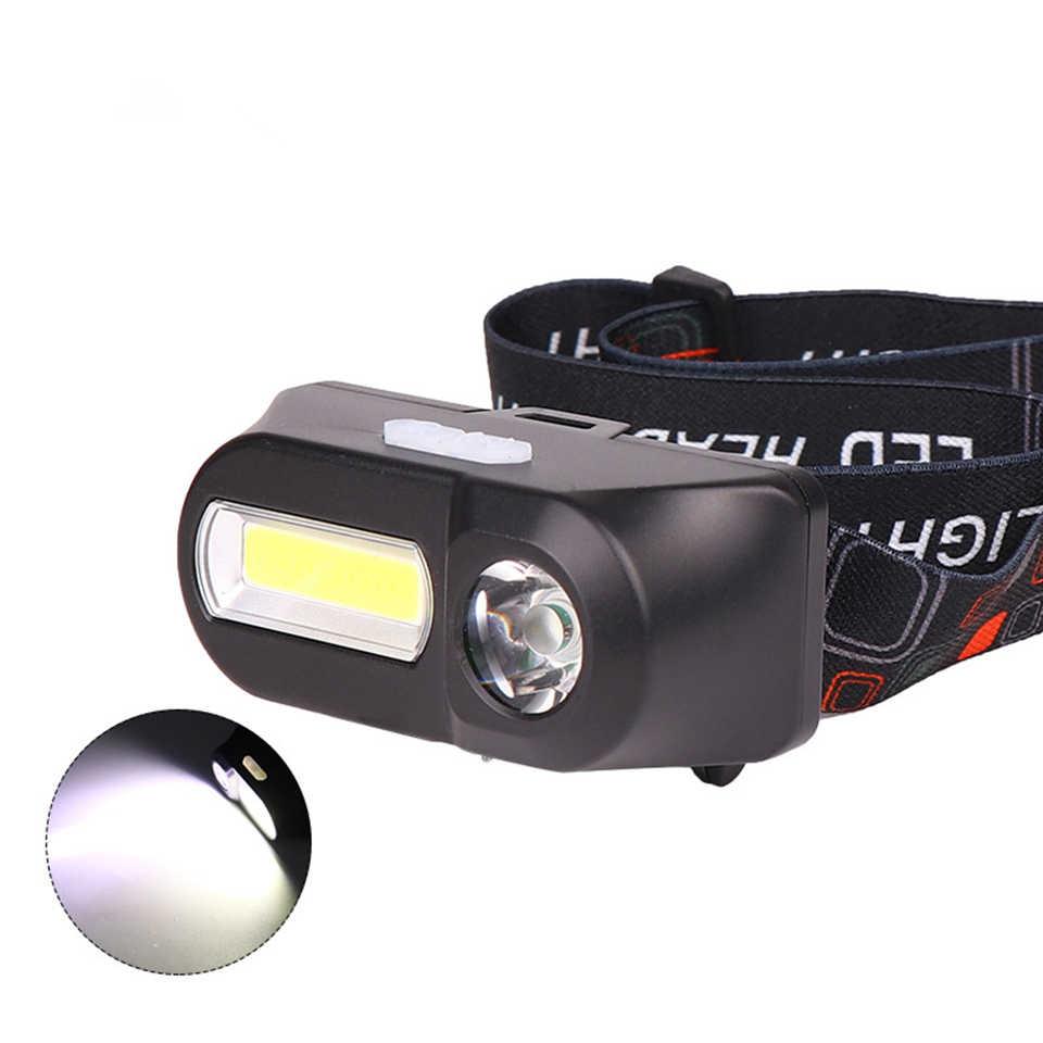 Mini COB phare LED lampe frontale lampe de poche USB Rechargeable 18650 torche Camping randonnée nuit pêche lumière