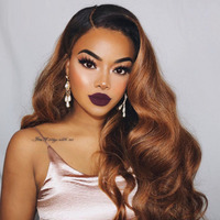 Ombre Brown U Part Human Hair Wigs Body Wave Brazilian Remy Hair Right Side Part 1*4 Two Tone Color For Black Women