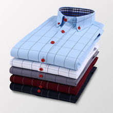 2021 New Autumn Men's Business Casual Plaid Shirt Fashion Classic Style Slim Long Sleeve Shirt Male Brand Clothes