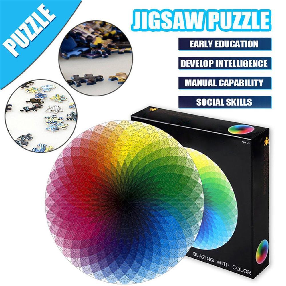 1000 Pcs Colorful Rainbow Round Geometrical Photo Puzzle Adult Kids DIY Educational Reduce Stress Toy Jigsaw Puzzle Set