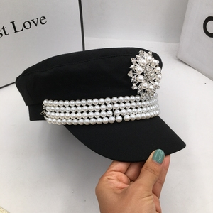Image 5 - ฤดูใบไม้ร่วงและฤดูหนาวหมวกผ้ายุโรปและสหรัฐอเมริกาขนาดเล็กPearl Navy WIND newsboyหมวกINSผู้หญิงหมวก