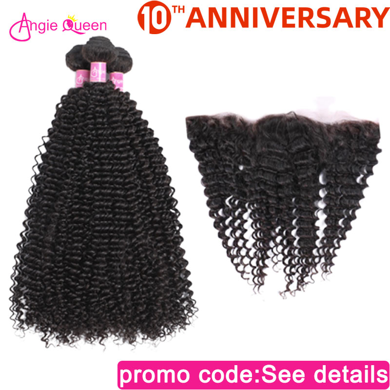 ANGIE QUEEN Brazilian hair kinky curly human hair bundle with frontal remy hair 13*4 lace frontal 3/4 bundle virgin hair bundle фото