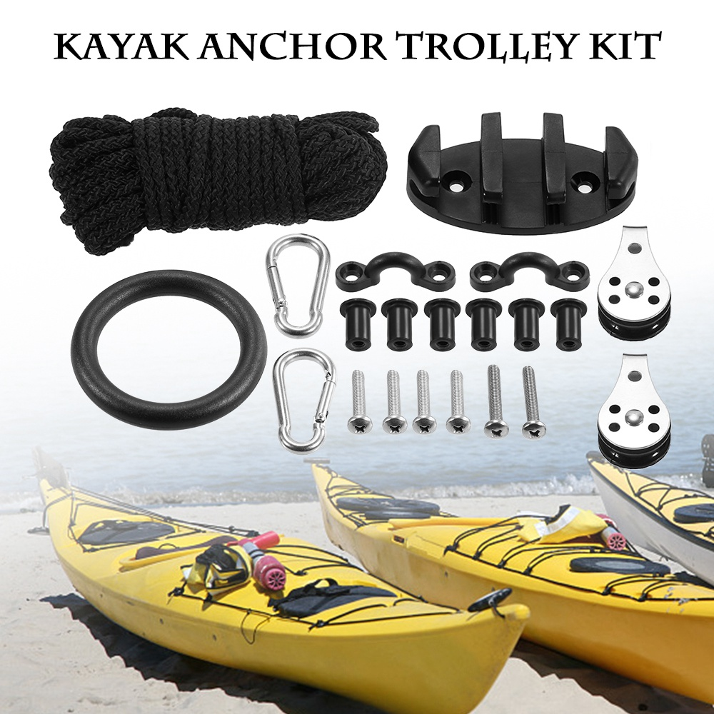 For Kayak Canoe Anchor Trolley Kit Rope Cleat Pulley Block Rigging Ring 1 Set