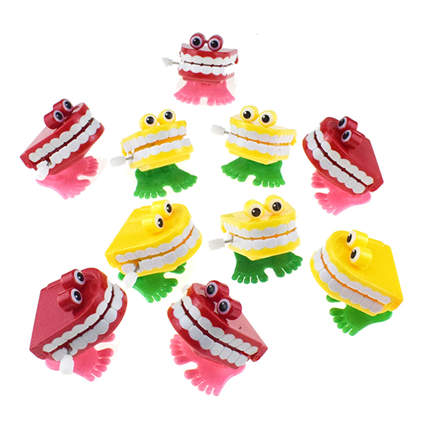 Novelty Chattering Chomping Winding Up Toy Walking Teeth Toy with Eyes, Kids Toy Party Favor Walking Mouth, Red, Yellow