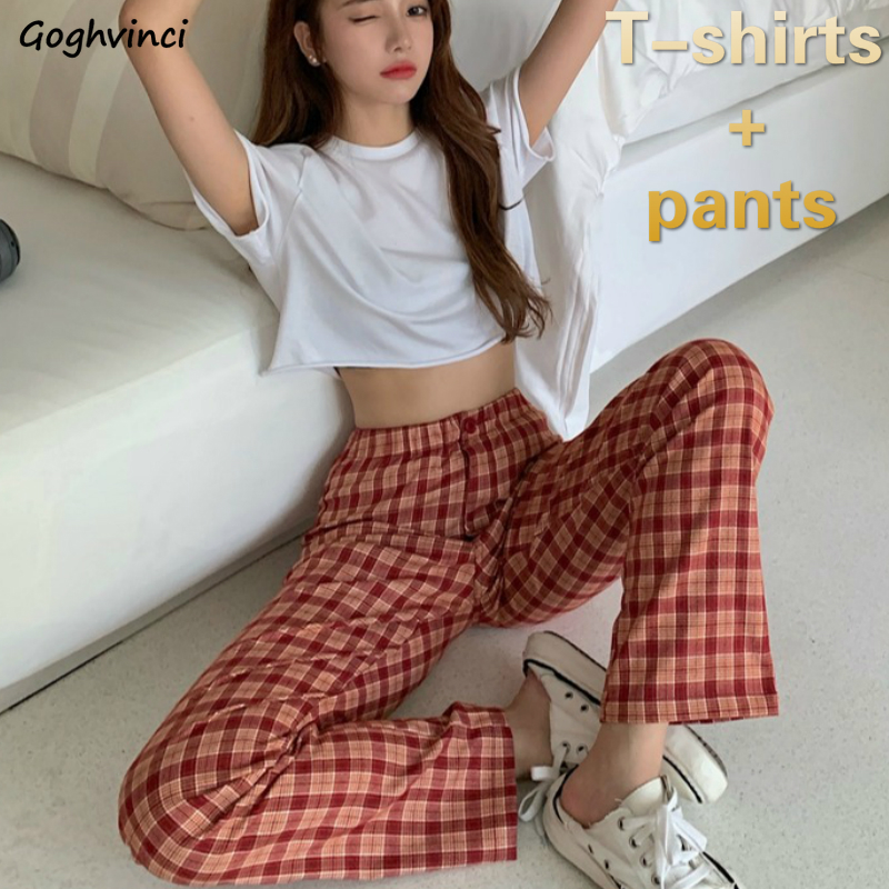 Women Sets Short Sleeve Solid White T-shirts Plaid High Waist Trousers Womens Office Lady Chic Casual 2 Pecs Stylish Slim New