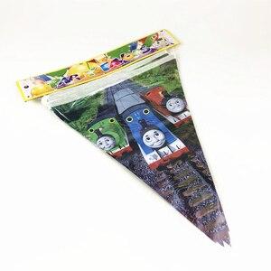 Image 4 - Neue 56pPcs Thomas Zug Thema Einweg Geschirr Kinder Junge Geburtstag Party Dekoration Papier Platte + Tasse + Serviette + fahnen Liefert