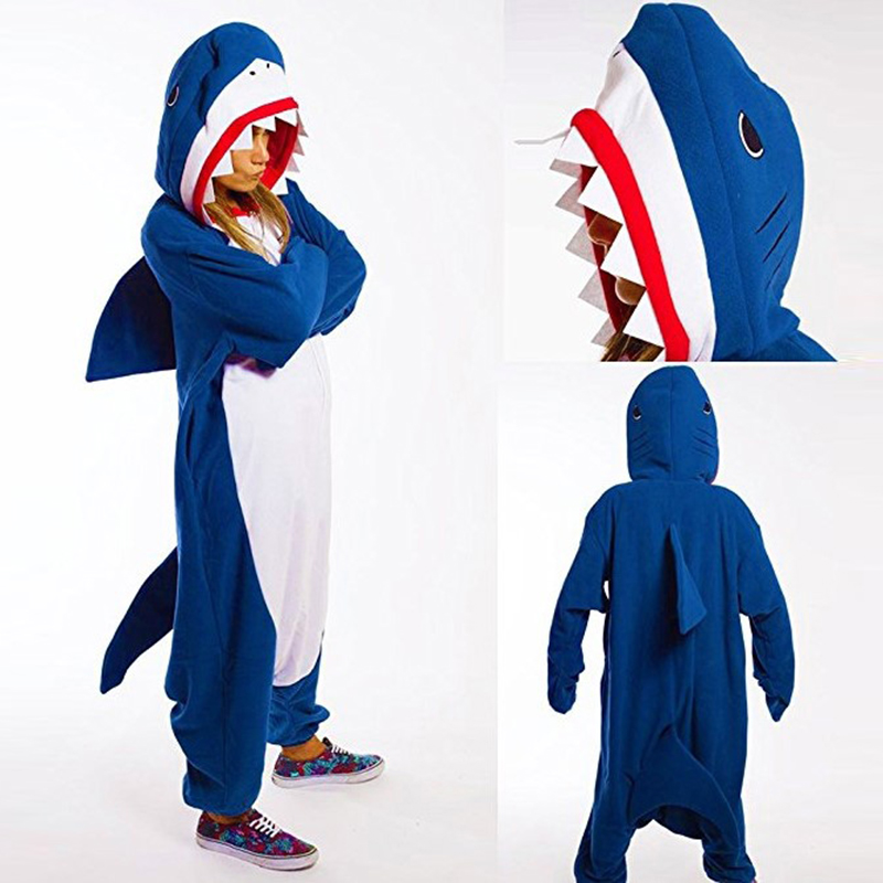 Kigurumi Shark Onesie Women Men Adult Animal Cartoon Teens Pajama Funny Festival Party Fancy Suit Zipper Button Overalls Onesies