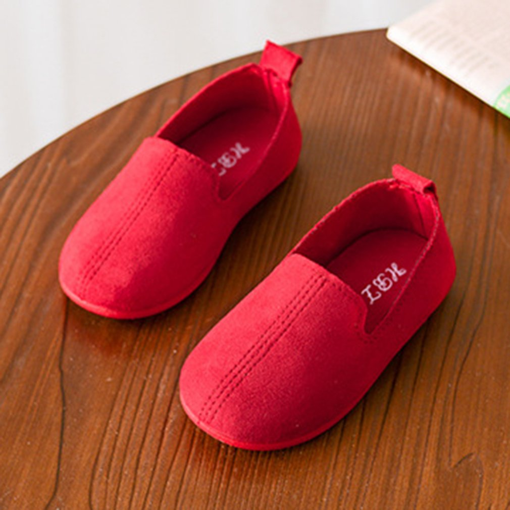 Fashion Solid Color Children Casual Shoes Shoes Soft PU Leather Flat Shoes With Anti-slip Rubber Sole Unisex For Girl Boys 2018