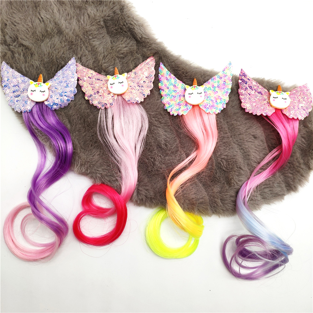Girls Cute Unicorn Colorful Wigs Hair Clips Hairpins Princess Hair Ornament Hair Grip Kids Barrettes Hair Accessories