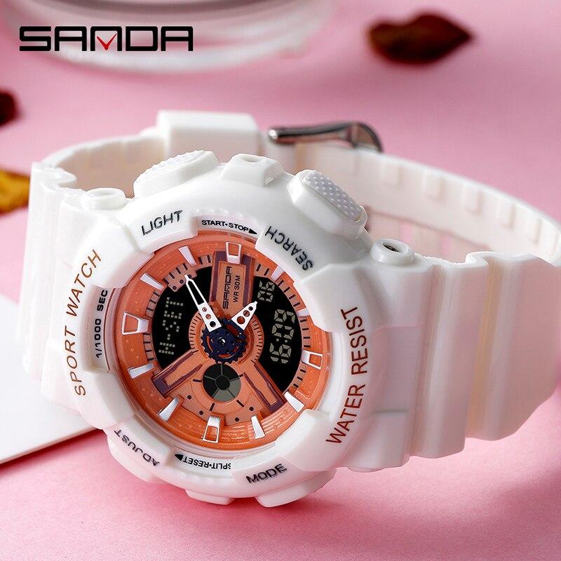 SANDA filles montres mode Bracelet horloge antichoc compte à rebours femmes montre de luxe lumineux 4 réveils montre-Bracelet 6