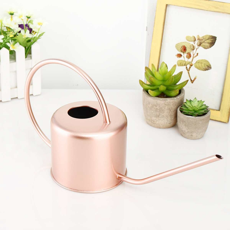 Watering-Can Flower Gard Easy-Use-Handle Home Stainless-Steel Metal for 1300ml Mouth title=