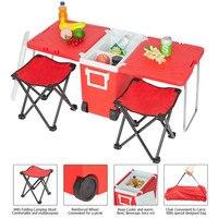 Açık piknik katlanabilir çok fonksiyonlu haddeleme soğutucu yükseltilmiş tabure kırmızı uygun dış mekan yemek masası bahçe için