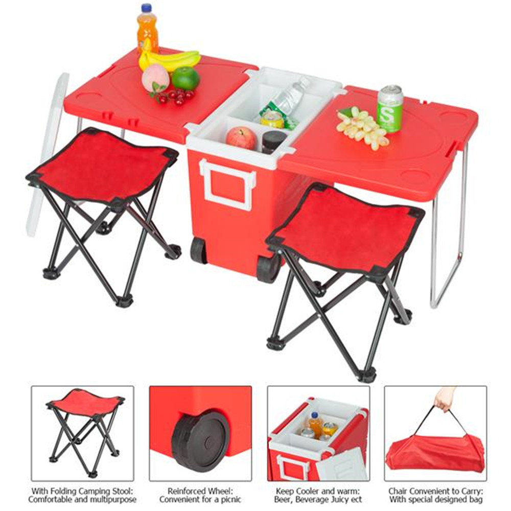 Outdoor Picnic Foldable Multi-function Rolling Cooler Upgraded Stool Red Convenient Outdoor Dining Table For Garden