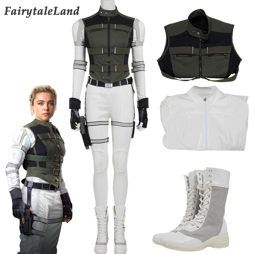 Film Black Widow 2020 Yelena Belova Cosplay Outfit Women Costume Sister Of Natasha Romanoff White Suit With Green Jacket Movie Tv Costumes Aliexpress