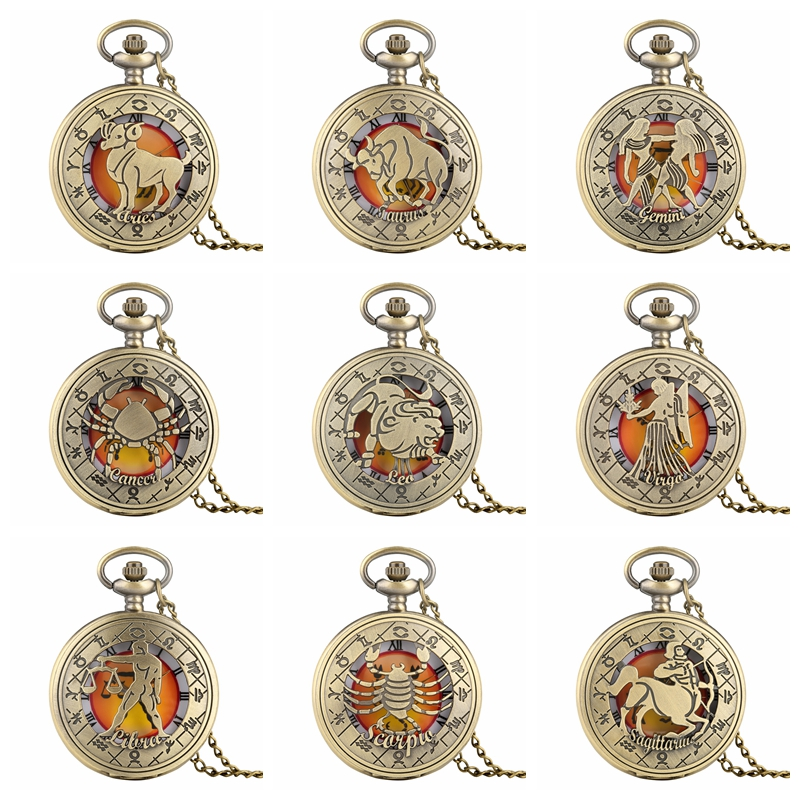 Retro Zodiac Pattern Pocket Watch Modern Necklace Chain Copper Twelve Constellation Pendant Birthday Clock Gifts For Men Women