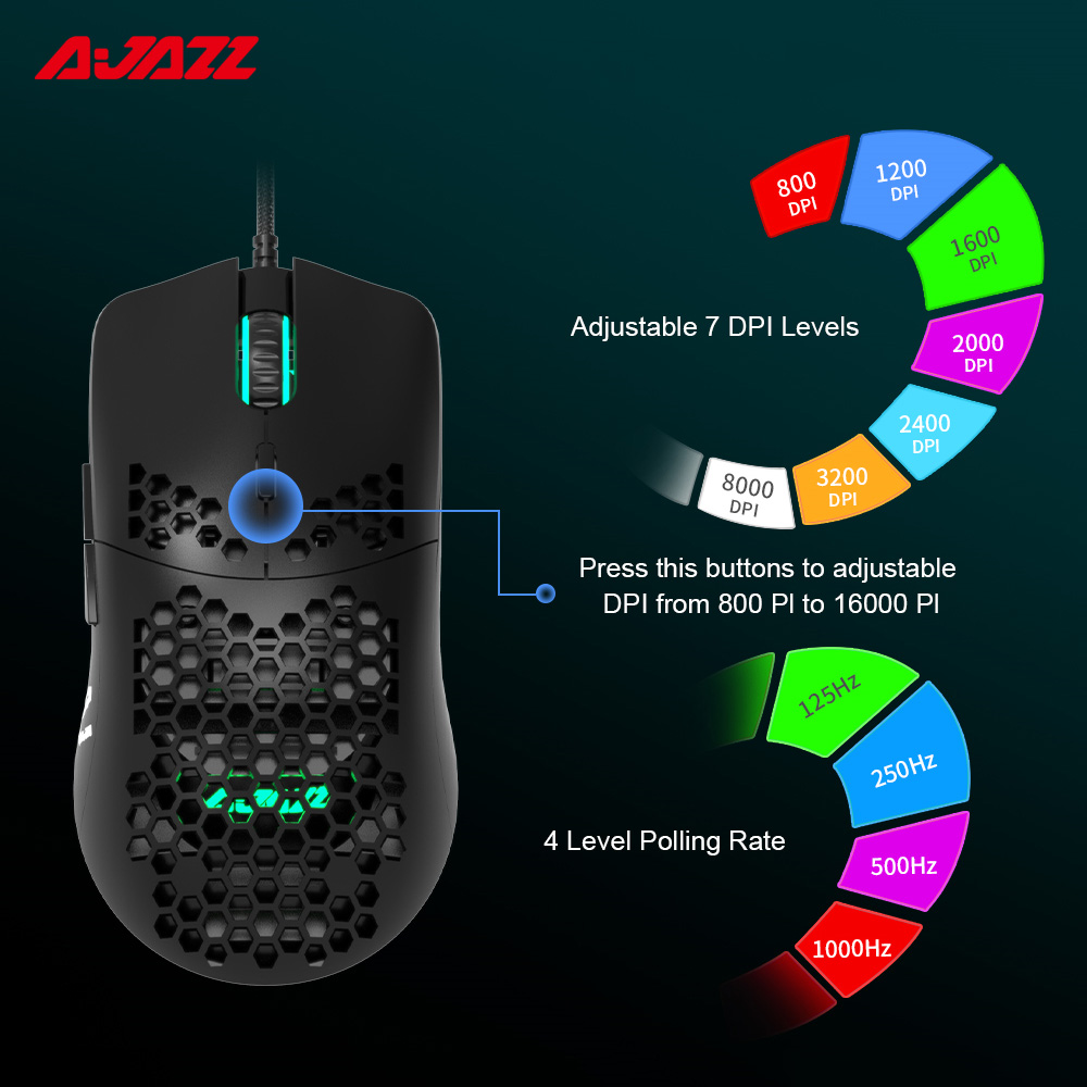 Ajazz AJ390 Gaming Mouse 7 Keys Honeycomb Hollow Design 69g Lightweight Wired Mouse 6 Colors LED Light 16000DPI Adjustable ABS