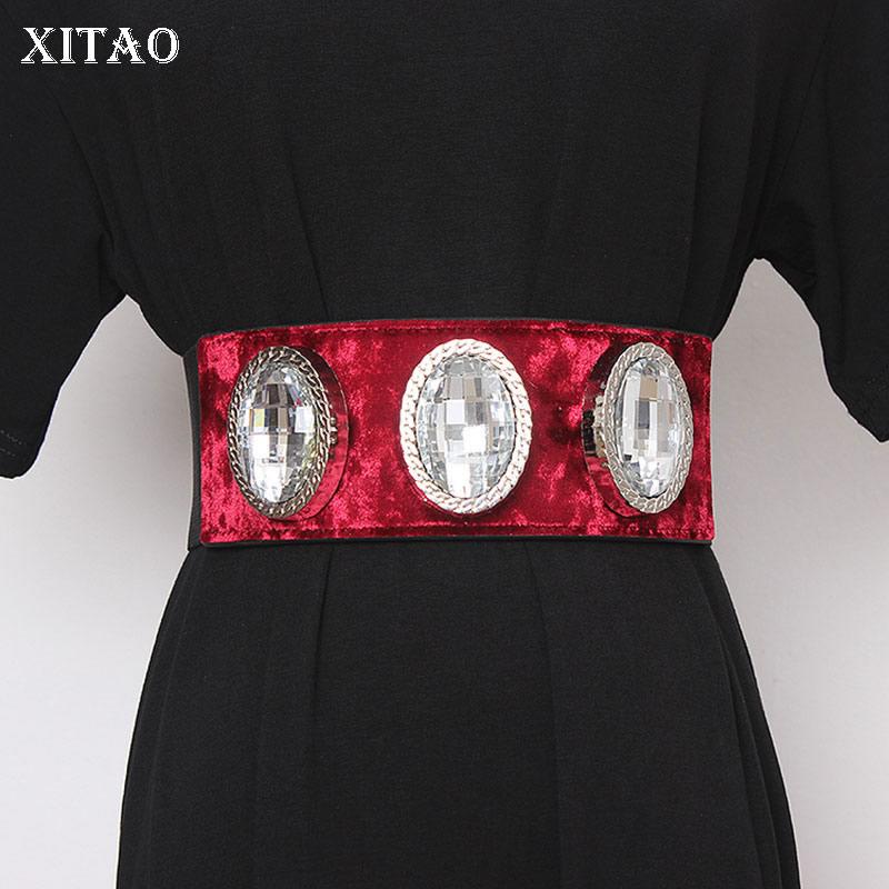 XITAO Vintage Sequin Fashion Cummerbunds Patchwork Elegant Small Fresh Casual Goddess Fan Minority Loose Cummerbunds GCC3101