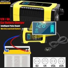 12V 6A automatyczna ładowarka samochodowa mocy inteligentny impuls naprawy ładowarki suchej mokrej ołowiu kwasu akumulator AGM ładowarka samochodowa wyświetlacz LCD