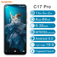 OUKITEL C17 Pro Smartphone 4GB RAM 64GB ROM 6.35'' Android 9.0 19:9 MT6763 Face ID Octa Core 13.0MP