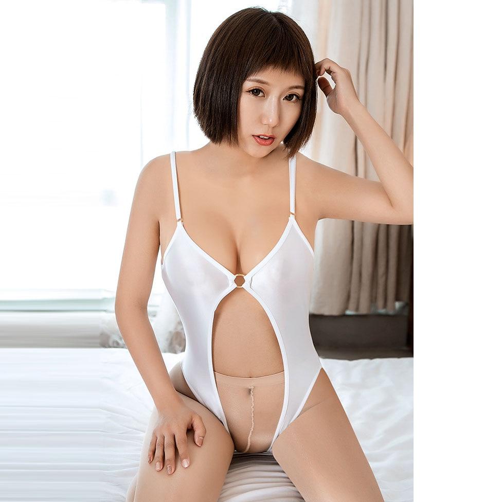 Adjustable Spaghetti Strap Crotchless Bodysuit Oil Shiny Japanese Swimsuit Sukumizu Hollow Out Body Sexy Hot Erotic Swimwear