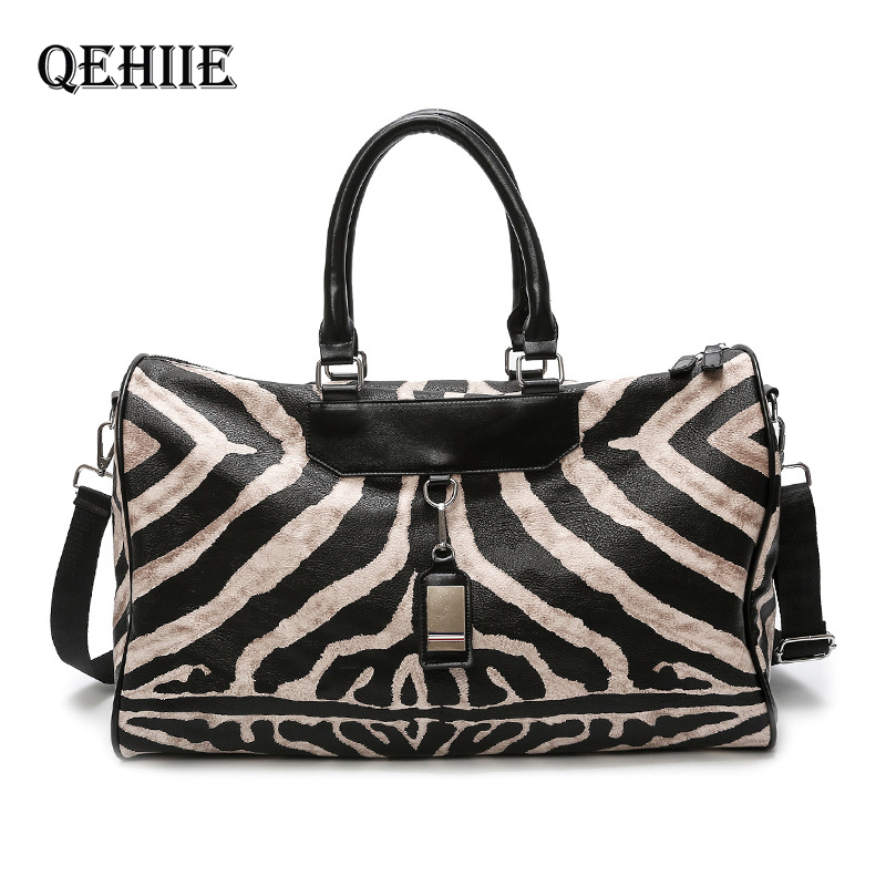 New Zebra Pattern Woman Travel Bags Pu Leather Large Capacity Female Luggage Bag Suitcase Luggage Bags Travel Package Duffle Bag