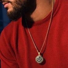 ALLAH acier inoxydable calligraphie disque pendentif hommes collier islamique turc arabe moyen orient bijoux musulmans