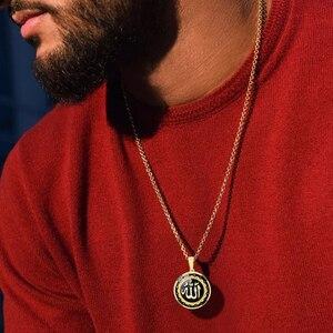 Image 1 - ALLAH нержавеющая сталь каллиграфия диск Кулон мужское ожерелье исламский Турецкий Арабский, Ближний Восток мусульманские драгоценности