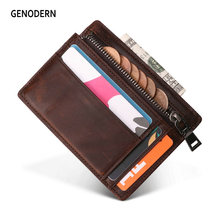 GENODERN New Slim Card Holder with Zipper Coin Pocket Small Wallet for Men Mini Purse for Male Functional Card Wallet