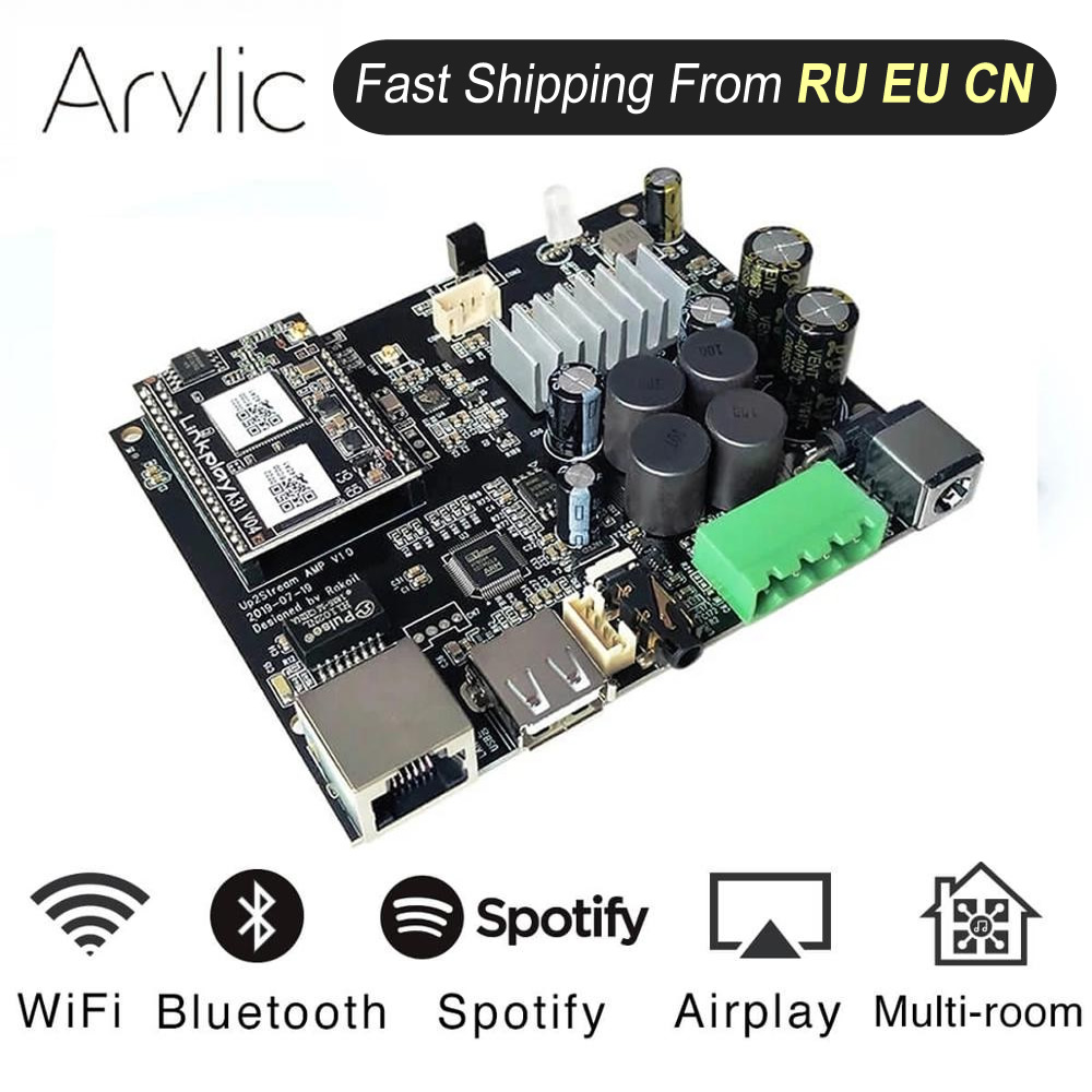 Up2stream WiFi and Bluetooth5.0 HiFi Stereo Class D digital multiroom audio amplifier board 2.0 with Spotify Airplay Equalizer(China)