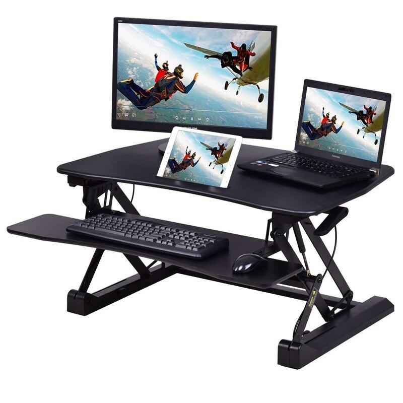 Höhe Einstellbar Aufstehen Lift Rising Laptop Schreibtisch mit Telefon Slot MDF Office Home Schwarz Zwei tier Design Laptop stehen HW56305-in Laptop-Tische aus Möbel bei
