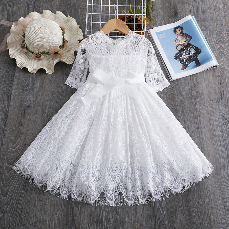 H767a0dbd6da444b88219876e9e813fc5K Red Kids Dresses For Girls Flower Lace Tulle Dress Wedding Little Girl Ceremony Party Birthday Dress Children Autumn Clothing
