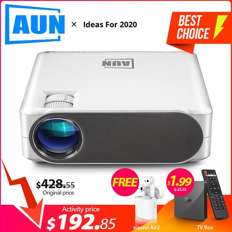 AUN projecteur Full HD AKEY6S, 1920x1080 P, mise à niveau 6,800 Lumens, Android 6.0 WIFI AC3 projecteur, projecteur LED pour 4K 3D Home Cinema