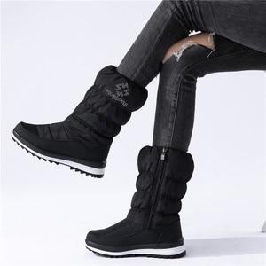 Image 1 - MORAZORA Plus rozmiar 36 41New 2020 śnieg buty damskie zip rhinstone kliny do połowy łydki dół buty zimowe moda ciepłe futrzane buty kobieta