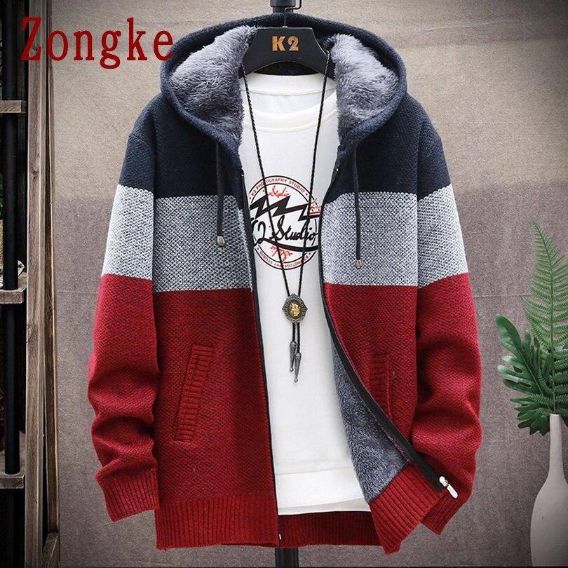 Zongke Лоскутная куртка кардиган с капюшоном для мужчин одежда Зимний вязаный кардиган свитер мужские пальто шерстяной мужской свитер Мода M 3XL 2020|Кардиганы| | АлиЭкспресс