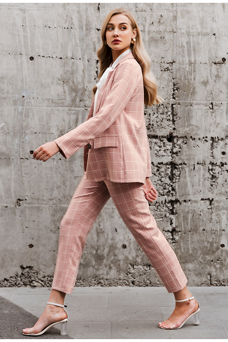 H767a51249ac1435fa99323dfac239482P - Simplee Fashion plaid women blazer suits Long sleeve double breasted blazer pants set Pink office ladies two-piece blazer sets