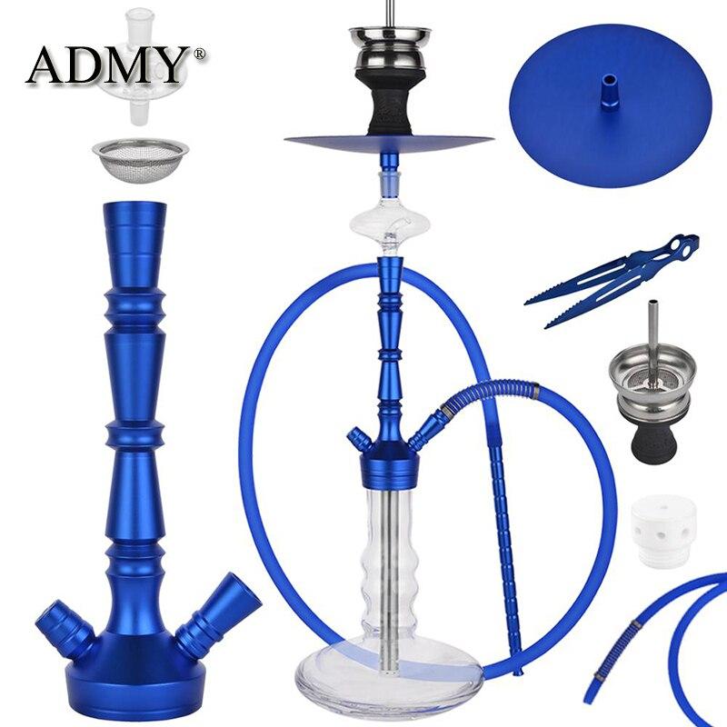ADMY Aluminum Hookah Shisha Six Colors Narguile Nargile Smoking Water Pipe Factory Wholesale Backpack Gift Hgt75cm Hose150cm