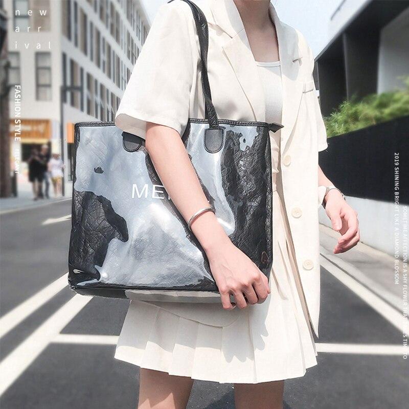 Модная роскошная сумка-тоут из крафт-бумаги, японская Повседневная винтажная большая сумка через плечо из ПВХ для путешествий, покупок, 2020