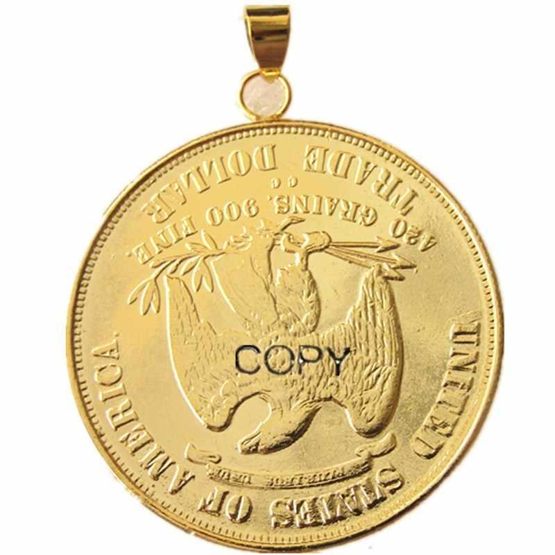 P (22) Đồng Tiền Mặt Dây Chuyền Hoa Kỳ 1876cc Thương Mại Đồng Đô La Cổ Mạ Vàng Đồng Xu Trang Sức Thời Trang
