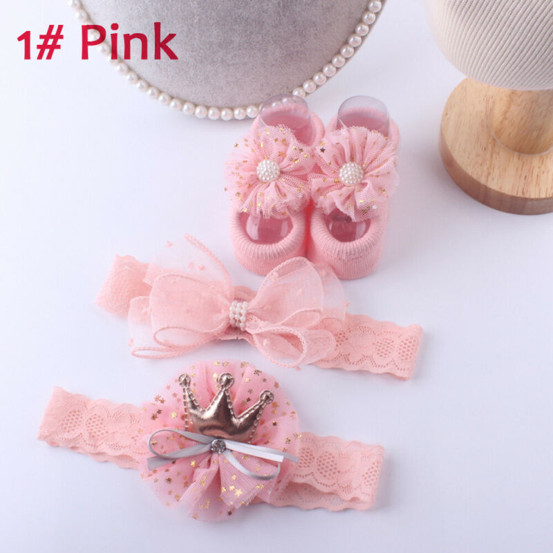 3Pcs/Set Baby Accessories Infant Girls Lace Floor Slipper Socks Shoes+Flower Headband Newborn Party Socks Headwear 0-3Y