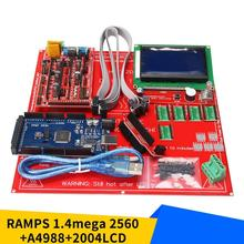 3D Printer Kit 3D Printer Motherboard Set with RAMPS 1.4 + Mega 2560 + 5pcs A4988 Module + 12864LCD Control Panel 3d printer motherboard kit mks base v1 6 12864lcd compatible with mega2560 ramps1 4