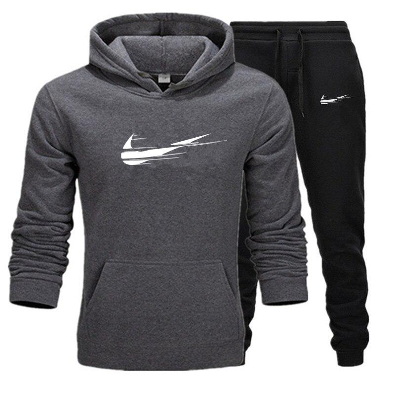 Brand men's sportswear suit 2020 autumn and winter warm velvet men's casual sportswear men's 2-piece sweatshirt + sweatpants set